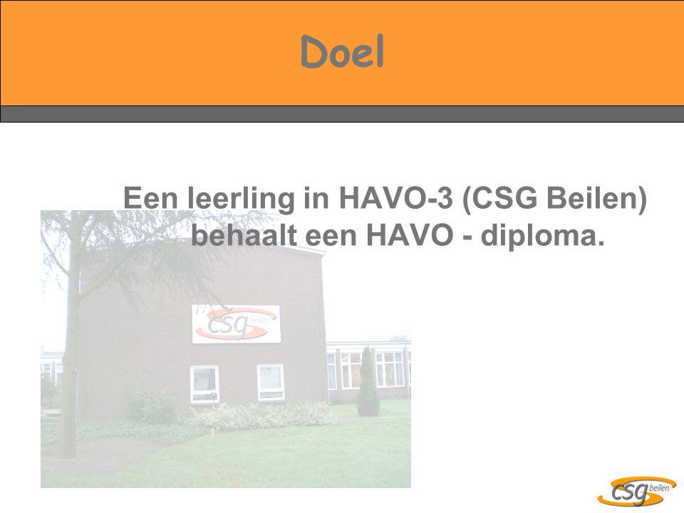 Doel Een leerling in HAVO-3 (CSG Beilen) behaalt een HAVO - diploma.