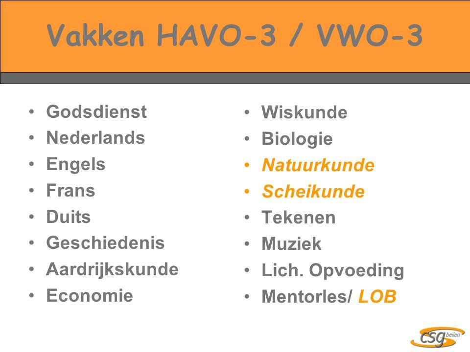 Vakken HAVO-3 / VWO-3 Godsdienst Nederlands Engels Frans Duits Geschiedenis Aardrijkskunde Economie Wiskunde Biologie Natuurkunde Scheikunde Tekenen Muziek Lich.