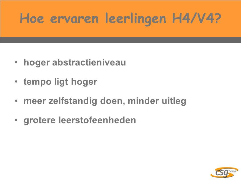Hoe ervaren leerlingen H4/V4.
