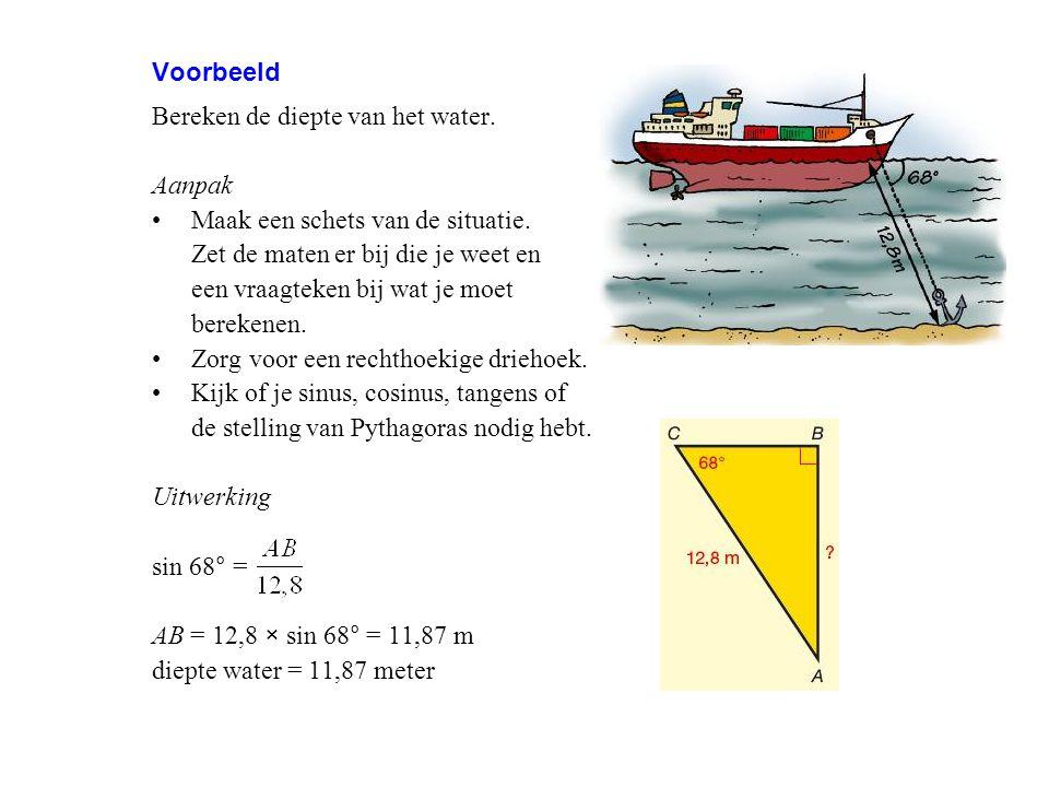 Voorbeeld Bereken de diepte van het water. Aanpak Maak een schets van de situatie. Zet de maten er bij die je weet en een vraagteken bij wat je moet b