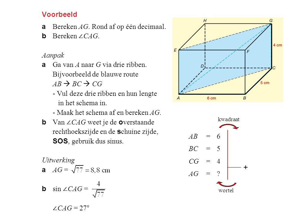 Voorbeeld a Bereken AG. Rond af op één decimaal. b Bereken ∠ CAG. Aanpak a Ga van A naar G via drie ribben. Bijvoorbeeld de blauwe route AB  BC  CG