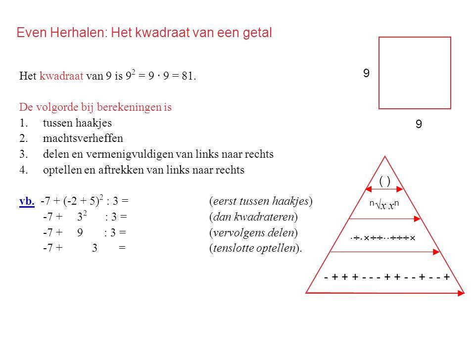 ( ) Even Herhalen: Het kwadraat van een getal Het kwadraat van 9 is 9 2 = 9 · 9 = 81. De volgorde bij berekeningen is 1.tussen haakjes 2.machtsverheff