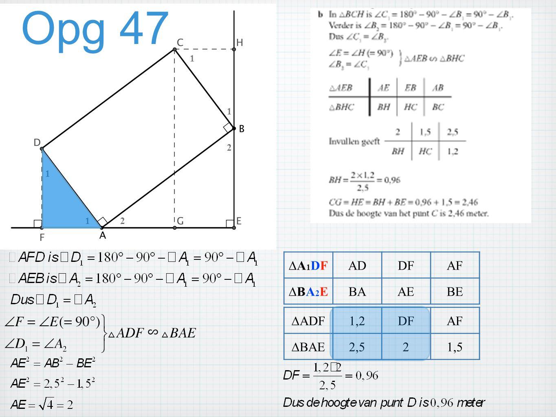 Opg 47 12 1 2 1 1 ∆A1DF∆A1DFADDFAF ∆BA2E∆BA2EBAAEBE ∆ADF1,2DFAF ∆BAE2,521,5