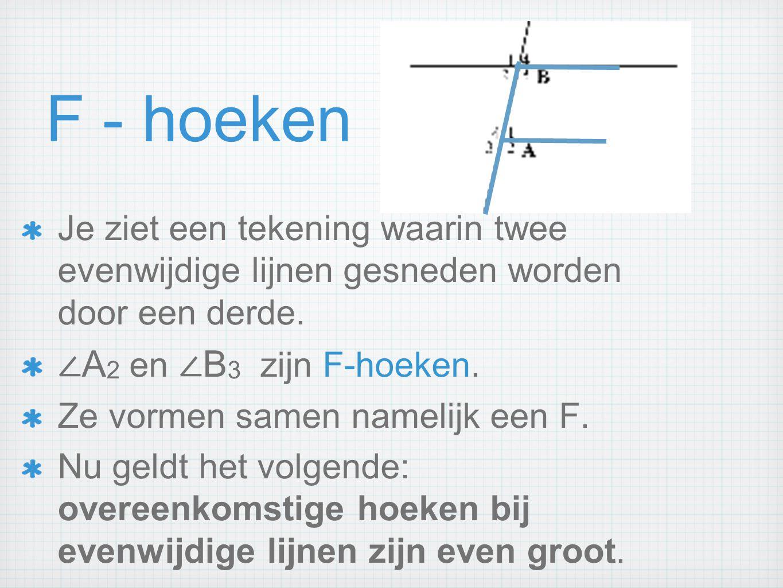 F - hoeken Je ziet een tekening waarin twee evenwijdige lijnen gesneden worden door een derde. ∠ A 2 en ∠ B 3 zijn F-hoeken. Ze vormen samen namelijk