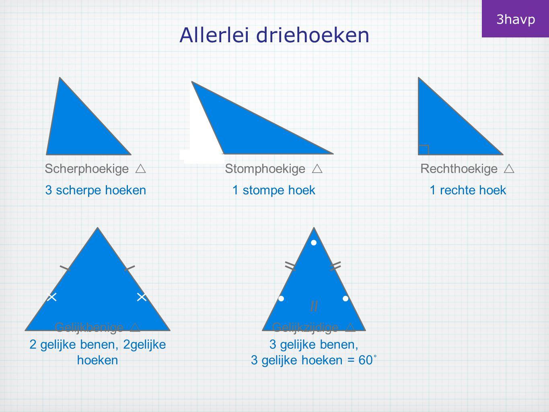 Allerlei driehoeken 3havp Scherphoekige  3 scherpe hoeken Stomphoekige  1 stompe hoek Rechthoekige  1 rechte hoek Gelijkbenige  2 gelijke benen, 2