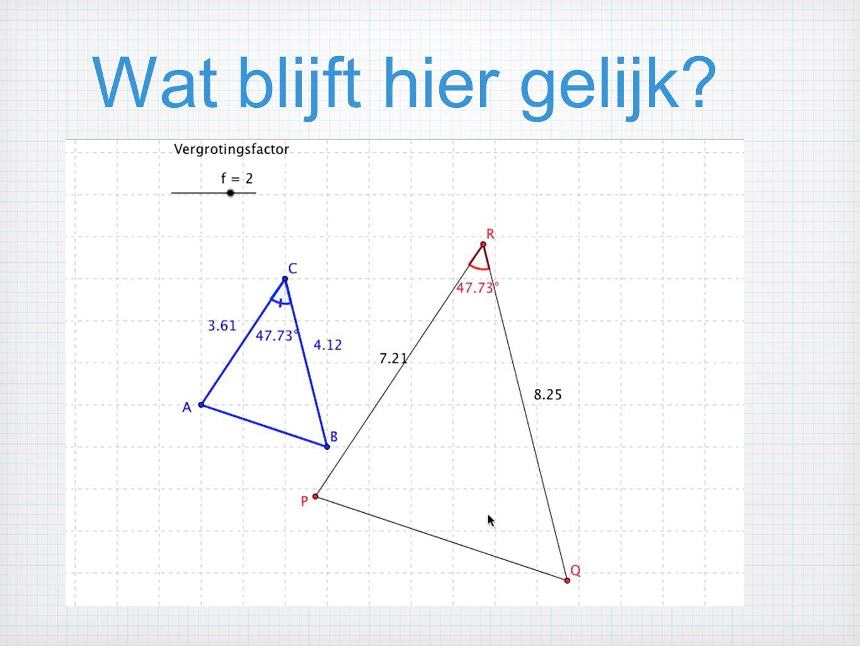 Gelijkvormige driehoeken Twee driehoeken zijn gelijkvormig als ze gelijk hebben: twee hoeken.(hh) een hoek en de verhouding van de omliggende zijden.(zhz) de verhouding van de zijden.(zzz) een rechte hoek en de verhouding van twee niet-omliggende zijden.