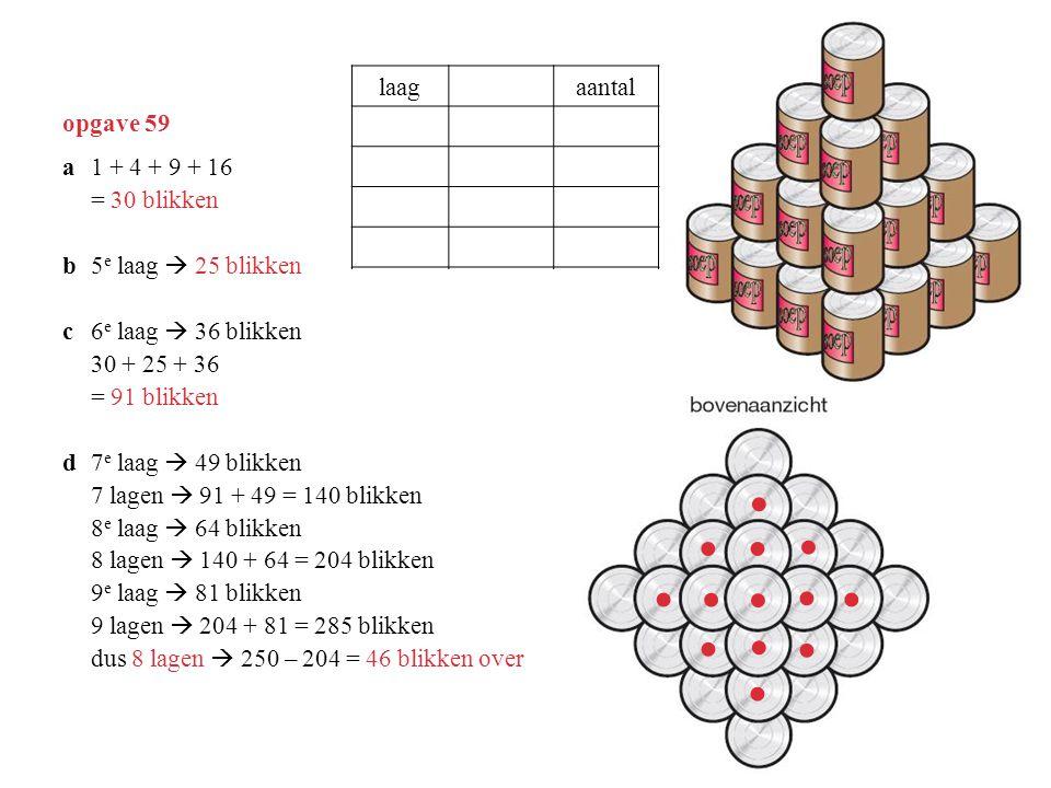 opgave 59 a1 + 4 + 9 + 16 = 30 blikken b5 e laag  25 blikken c6 e laag  36 blikken 30 + 25 + 36 = 91 blikken d7 e laag  49 blikken 7 lagen  91 + 4