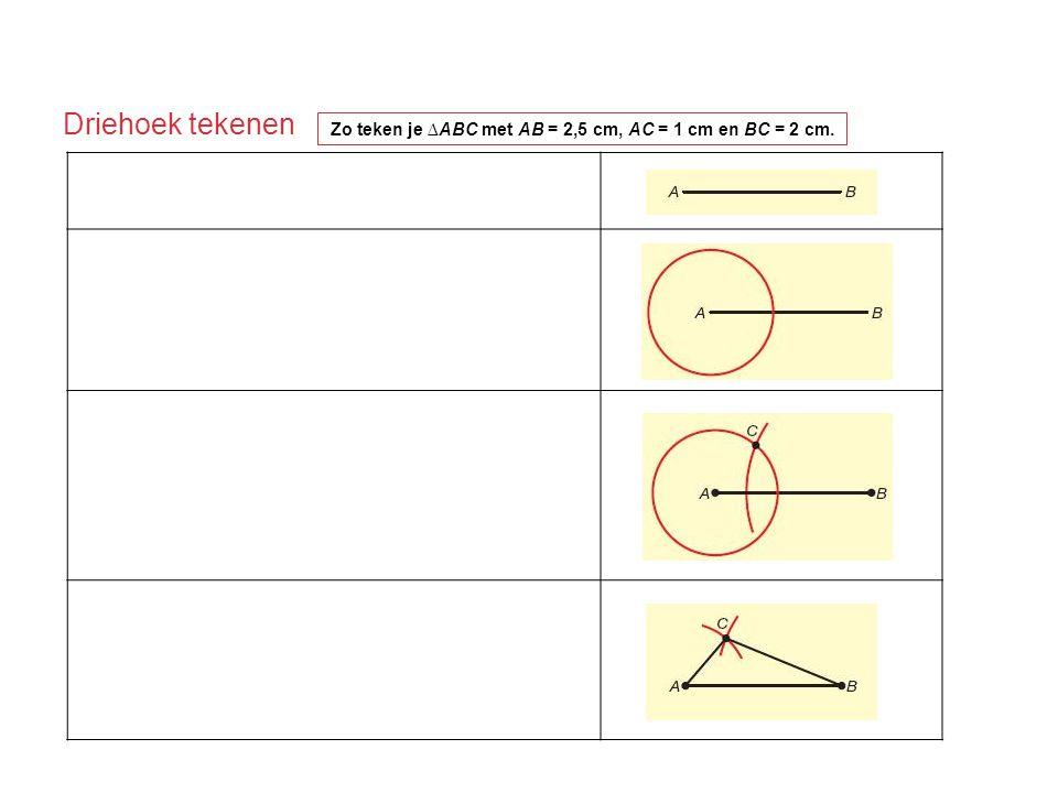 Driehoek tekenen Zo teken je ∆ABC met AB = 2,5 cm, AC = 1 cm en BC = 2 cm. 1Teken AB = 2,5 cm. 2AC = 1 cm, dus C ligt op de cirkel met middelpunt A en