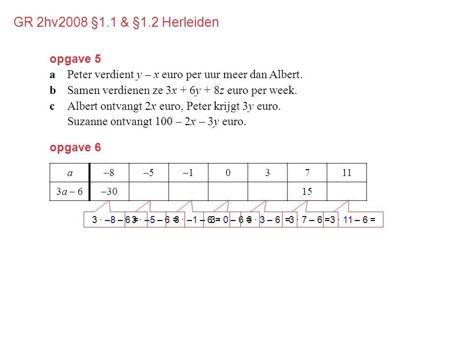 opgave 6 a–8–5–103711 3a – 6–30–21–9–631527 3 · –8 – 6 =3 · –5 – 6 =3 · –1 – 6 =3 · 0 – 6 =3 · 3 – 6 =3 · 7 – 6 =3 · 11 – 6 = opgave 5 aPeter verdient y – x euro per uur meer dan Albert.