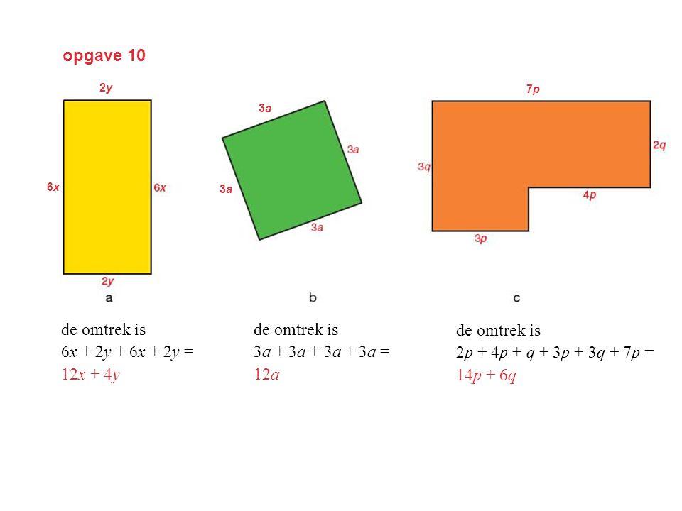 opgave 10 de omtrek is 6x + 2y + 6x + 2y = 12x + 4y de omtrek is 3a + 3a + 3a + 3a = 12a de omtrek is 2p + 4p + q + 3p + 3q + 7p = 14p + 6q 2y2y 6x6x 3a3a 3a3a 7p7p