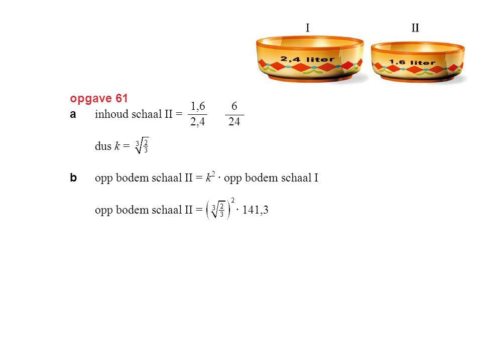 opgave 61 a inhoud schaal II = = =  keer inhoud schaal I, dus k = ≈ 0,9. b opp bodem schaal II = k 2 · opp bodem schaal I opp bodem schaal II = · 141