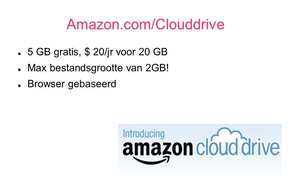 Amazon.com/Clouddrive 5 GB gratis, $ 20/jr voor 20 GB Max bestandsgrootte van 2GB! Browser gebaseerd