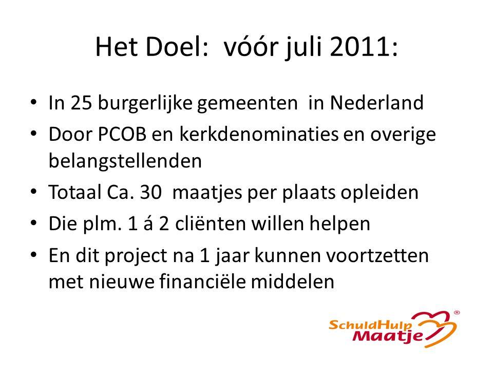 Het Doel: vóór juli 2011: In 25 burgerlijke gemeenten in Nederland Door PCOB en kerkdenominaties en overige belangstellenden Totaal Ca.