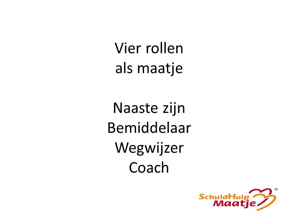 Vier rollen als maatje Naaste zijn Bemiddelaar Wegwijzer Coach