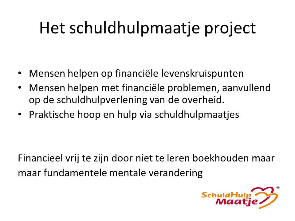 Het schuldhulpmaatje project Mensen helpen op financiële levenskruispunten Mensen helpen met financiële problemen, aanvullend op de schuldhulpverlening van de overheid.