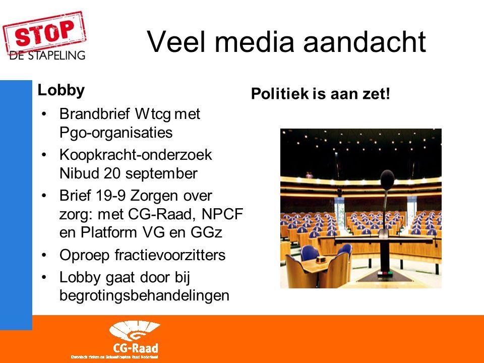 Veel media aandacht Lobby Brandbrief Wtcg met Pgo-organisaties Koopkracht-onderzoek Nibud 20 september Brief 19-9 Zorgen over zorg: met CG-Raad, NPCF