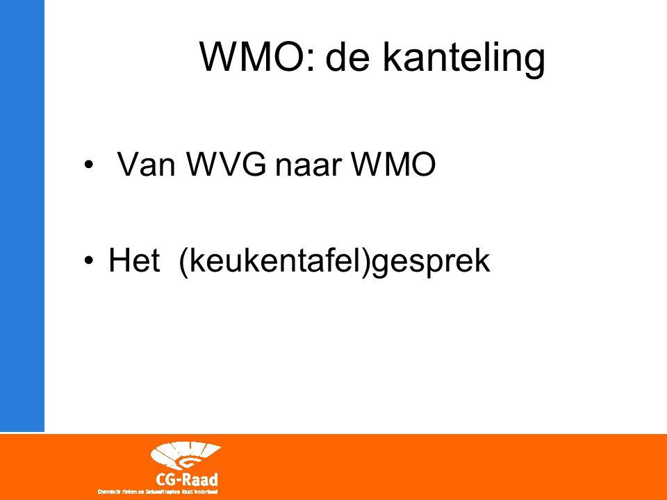 Van WVG naar WMO Het (keukentafel)gesprek WMO: de kanteling