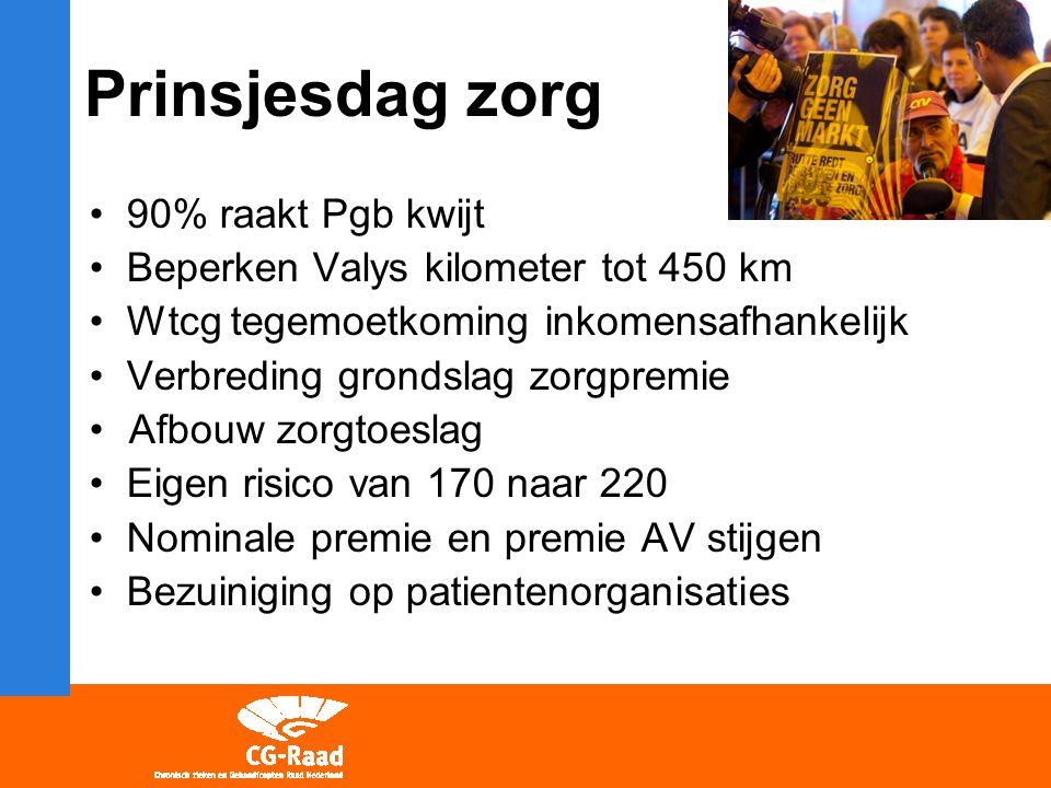 Prinsjesdag zorg 90% raakt Pgb kwijt Beperken Valys kilometer tot 450 km Wtcg tegemoetkoming inkomensafhankelijk Verbreding grondslag zorgpremie Afbou