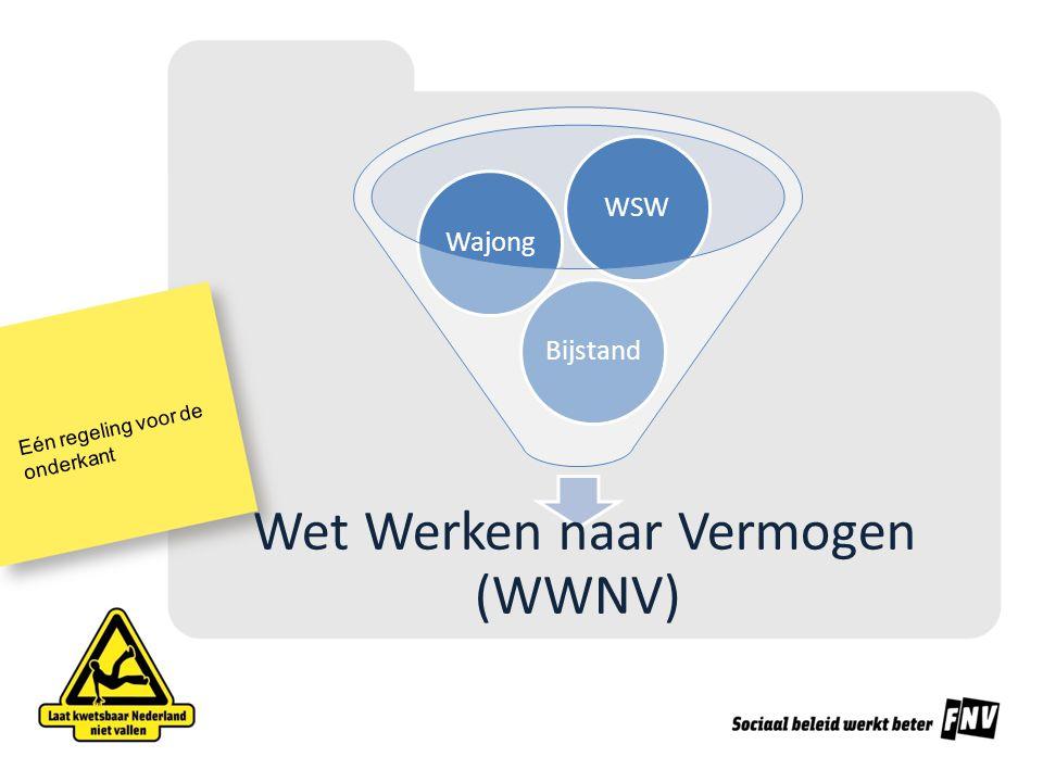 Eén regeling voor de onderkant Wet Werken naar Vermogen (WWNV) BijstandWajongWSW