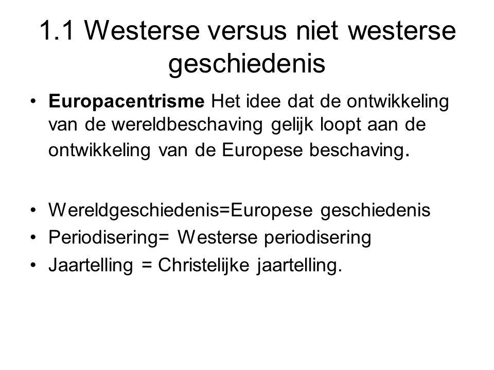 1.1 Westerse versus niet westerse geschiedenis Europacentrisme Het idee dat de ontwikkeling van de wereldbeschaving gelijk loopt aan de ontwikkeling v