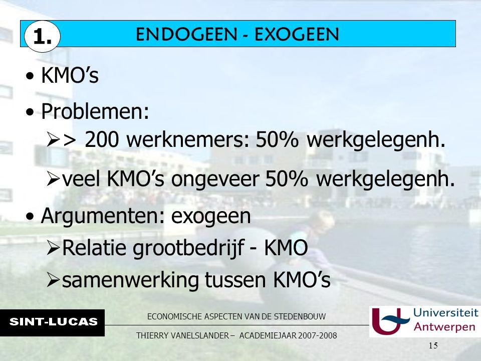 ECONOMISCHE ASPECTEN VAN DE STEDENBOUW THIERRY VANELSLANDER – ACADEMIEJAAR 2007-2008 15 KMO's  > 200 werknemers: 50% werkgelegenh.