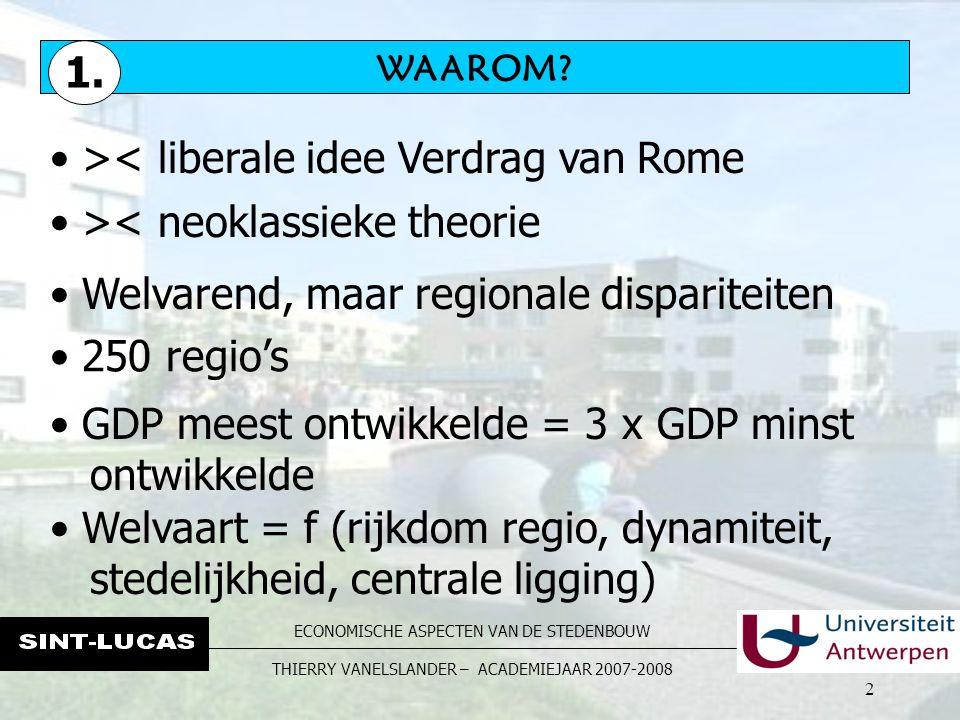 ECONOMISCHE ASPECTEN VAN DE STEDENBOUW THIERRY VANELSLANDER – ACADEMIEJAAR 2007-2008 2 WAAROM.