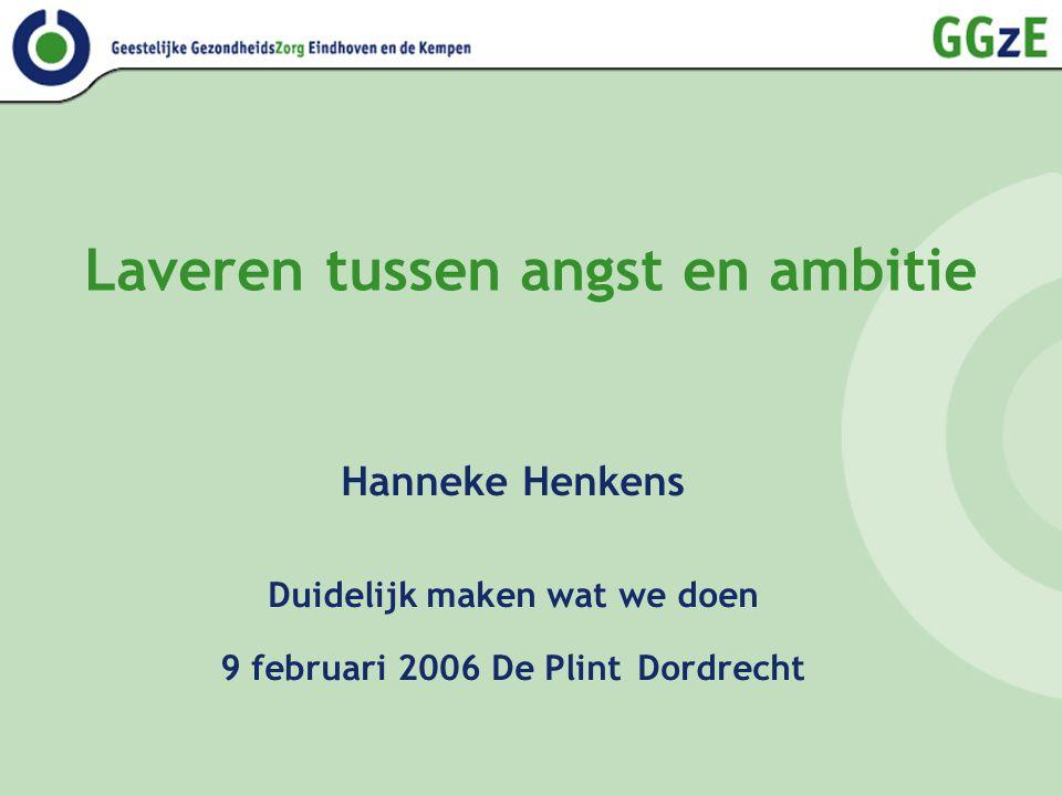 Laveren tussen angst en ambitie Hanneke Henkens Duidelijk maken wat we doen 9 februari 2006 De Plint Dordrecht