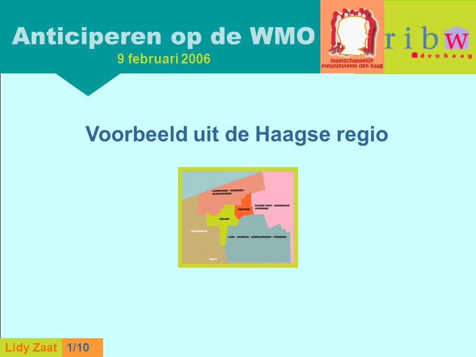 L. Zaat 1/10 Lidy Zaat9/10 Anticiperen op de WMO 9 februari 2006 Voorbeeld uit de Haagse regio Lidy Zaat1/10