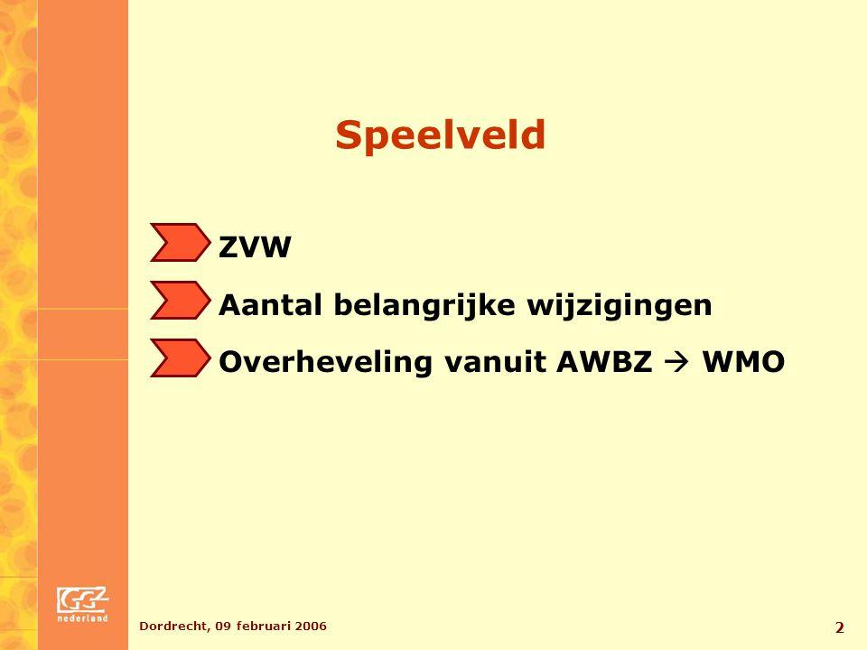 Dordrecht, 09 februari 2006 3 Visie GGZ Nederland Voortgang Vermaatschappelijking Beleidsmatig perspectief Bemoeizorg als belangrijk onderdeel