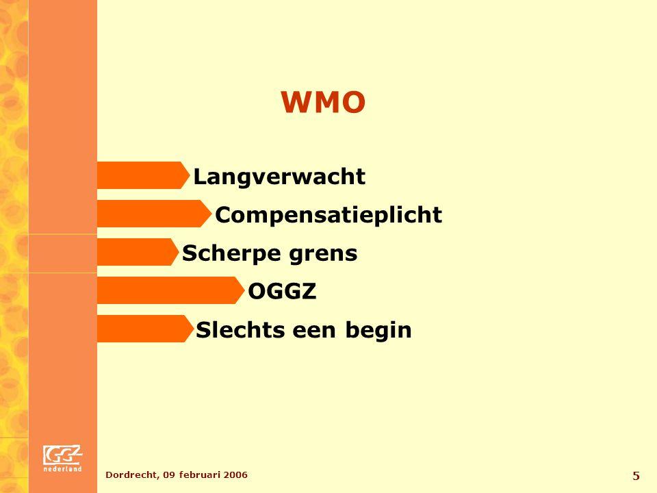 Dordrecht, 09 februari 2006 6 Toekomst AWBZ - Opdeling AWBZ  versterking WMO - Keten-DBC's - Grondige revisie - Onverzekerbare risico's - AWBZ in verdrukking
