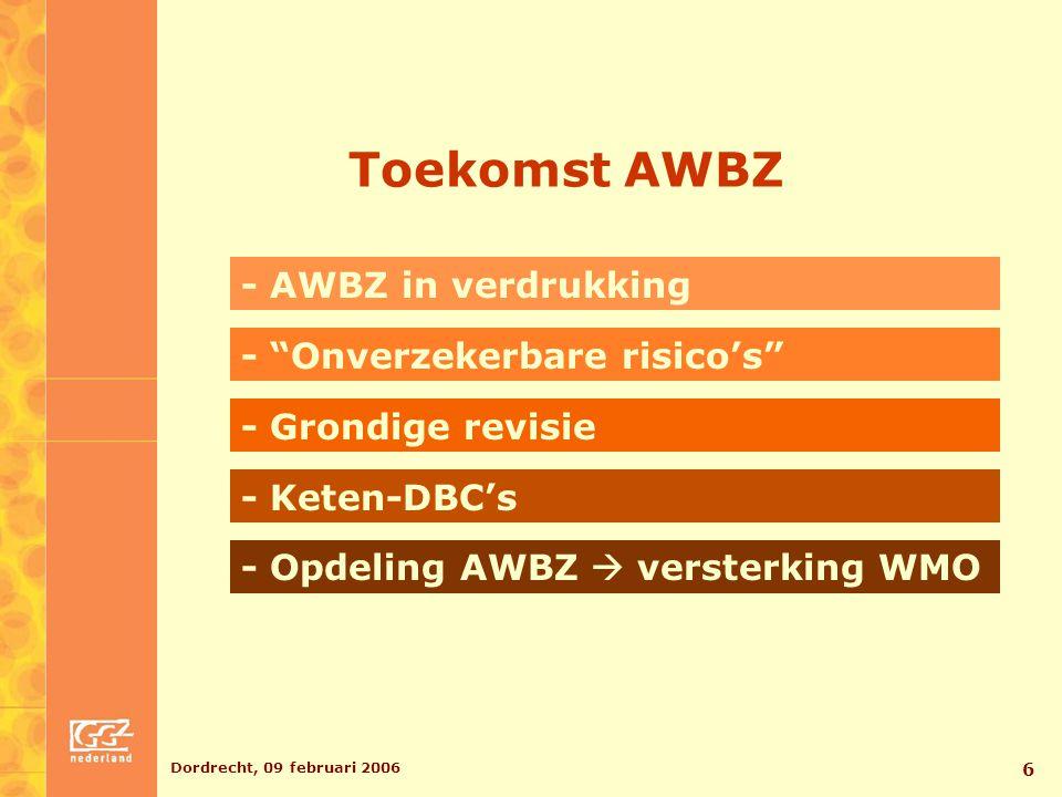 """Dordrecht, 09 februari 2006 6 Toekomst AWBZ - Opdeling AWBZ  versterking WMO - Keten-DBC's - Grondige revisie - """"Onverzekerbare risico's"""" - AWBZ in v"""