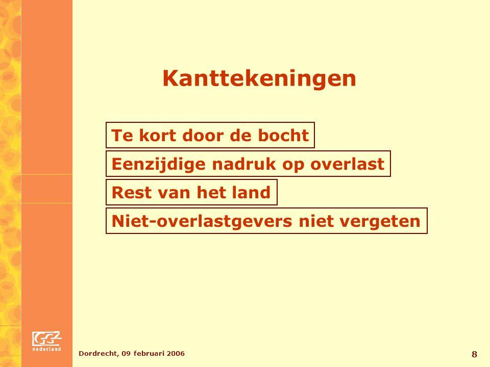 Dordrecht, 09 februari 2006 9 Duidelijk maken wat we doen Profileren bij gemeenten OGGZ en verslavingsbeleid Preventie Maatschappelijke steunsystemen Ketenbenadering Initiatief bij bestuurders