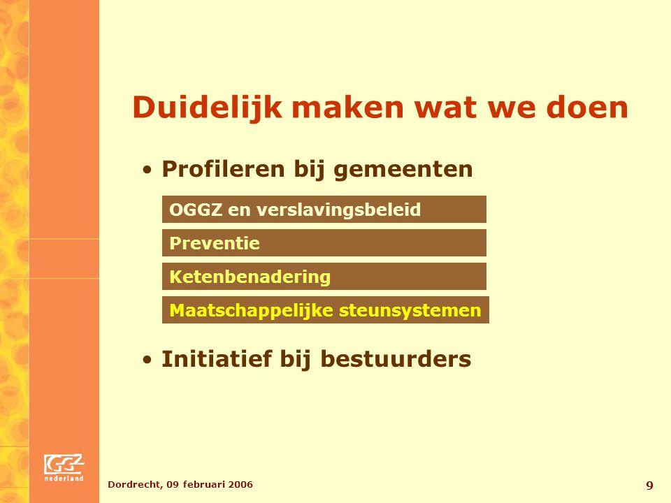 Dordrecht, 09 februari 2006 9 Duidelijk maken wat we doen Profileren bij gemeenten OGGZ en verslavingsbeleid Preventie Maatschappelijke steunsystemen