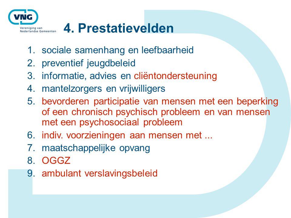 4. Prestatievelden 1.sociale samenhang en leefbaarheid 2.preventief jeugdbeleid 3.informatie, advies en cliëntondersteuning 4.mantelzorgers en vrijwil