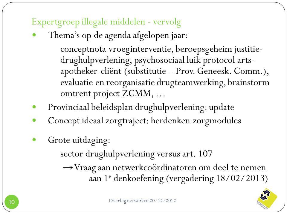 Overleg netwerkco 20/12/2012 10 Expertgroep illegale middelen - vervolg Thema's op de agenda afgelopen jaar: conceptnota vroeginterventie, beroepsgehe
