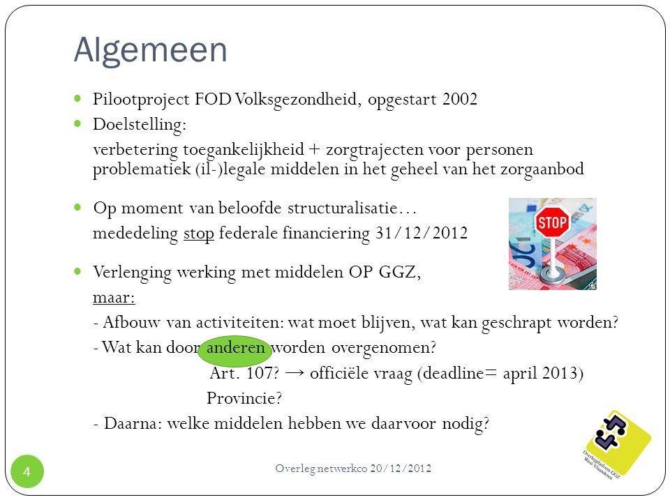Algemeen Overleg netwerkco 20/12/2012 4 Pilootproject FOD Volksgezondheid, opgestart 2002 Doelstelling: verbetering toegankelijkheid + zorgtrajecten v