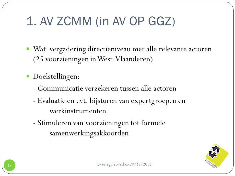 1. AV ZCMM (in AV OP GGZ) Overleg netwerkco 20/12/2012 5 Wat: vergadering directieniveau met alle relevante actoren (25 voorzieningen in West-Vlaander