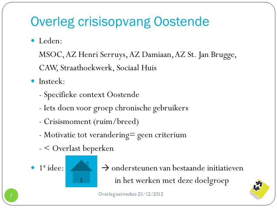 Overleg crisisopvang Oostende Overleg netwerkco 20/12/2012 7 Leden: MSOC, AZ Henri Serruys, AZ Damiaan, AZ St. Jan Brugge, CAW, Straathoekwerk, Sociaa