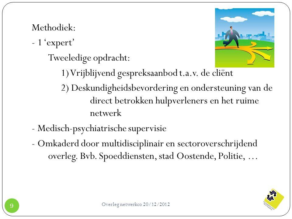 Overleg netwerkco 20/12/2012 9 Methodiek: - 1 'expert' Tweeledige opdracht: 1) Vrijblijvend gespreksaanbod t.a.v. de cliënt 2) Deskundigheidsbevorderi