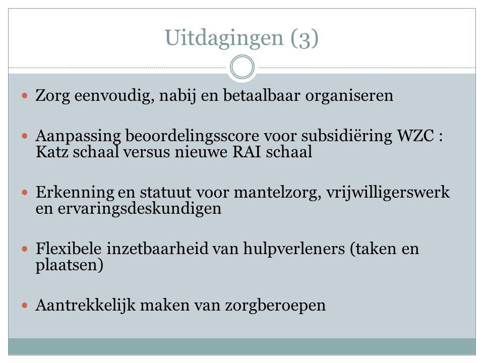 Uitdagingen (3) Zorg eenvoudig, nabij en betaalbaar organiseren Aanpassing beoordelingsscore voor subsidiëring WZC : Katz schaal versus nieuwe RAI schaal Erkenning en statuut voor mantelzorg, vrijwilligerswerk en ervaringsdeskundigen Flexibele inzetbaarheid van hulpverleners (taken en plaatsen) Aantrekkelijk maken van zorgberoepen