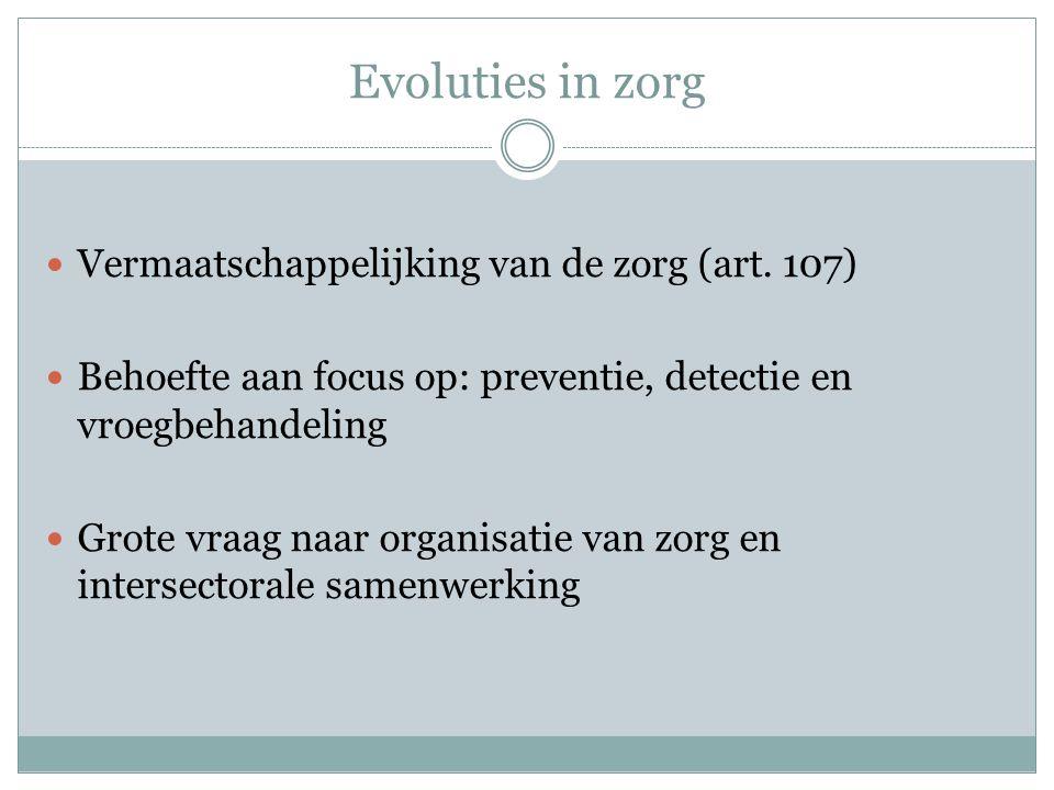 Evoluties in zorg Vermaatschappelijking van de zorg (art.