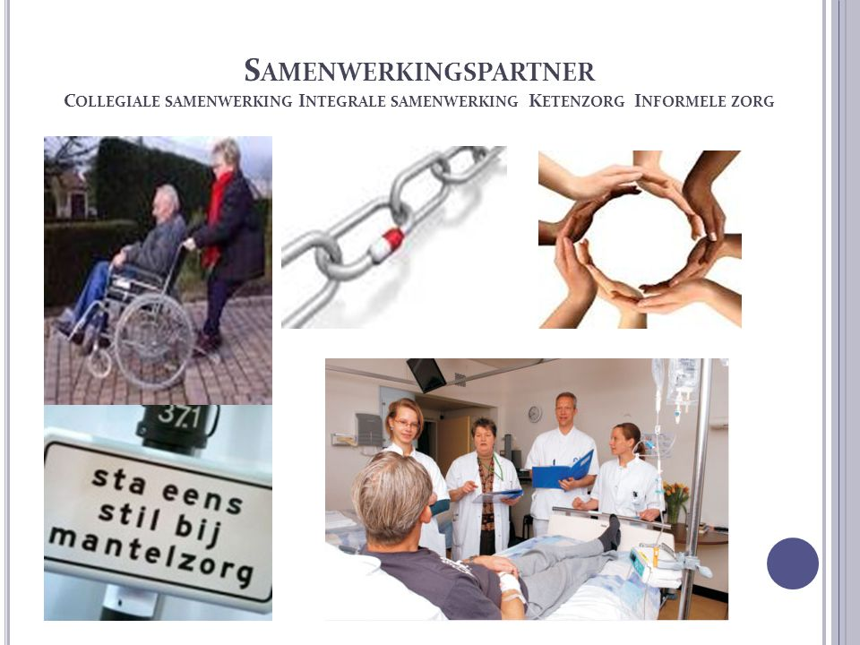 S AMENWERKINGSPARTNER C OLLEGIALE SAMENWERKING I NTEGRALE SAMENWERKING K ETENZORG I NFORMELE ZORG