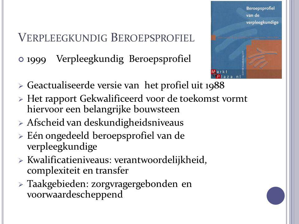 V ERPLEEGKUNDIG B EROEPSPROFIEL 1999 Verpleegkundig Beroepsprofiel  Geactualiseerde versie van het profiel uit 1988  Het rapport Gekwalificeerd voor
