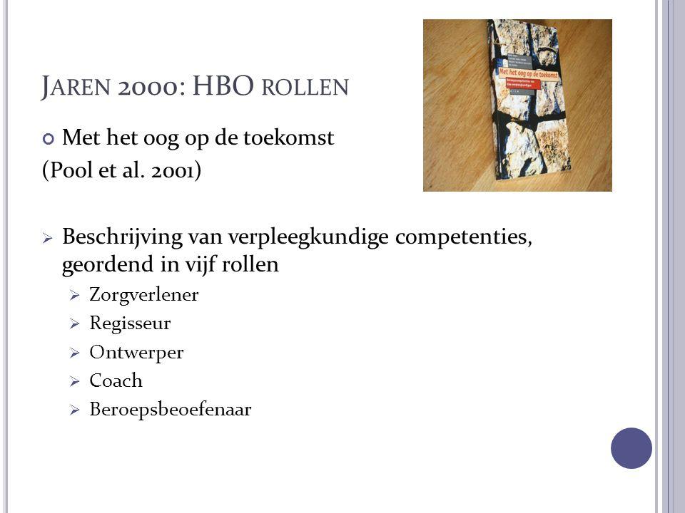 J AREN 2000: HBO ROLLEN Met het oog op de toekomst (Pool et al. 2001)  Beschrijving van verpleegkundige competenties, geordend in vijf rollen  Zorgv