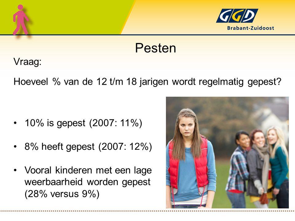Pesten Vraag: Hoeveel % van de 12 t/m 18 jarigen wordt regelmatig gepest.