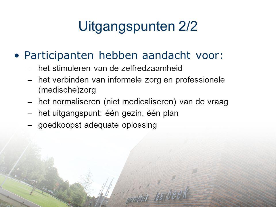 Uitgangspunten 2/2 Participanten hebben aandacht voor: –het stimuleren van de zelfredzaamheid –het verbinden van informele zorg en professionele (medi