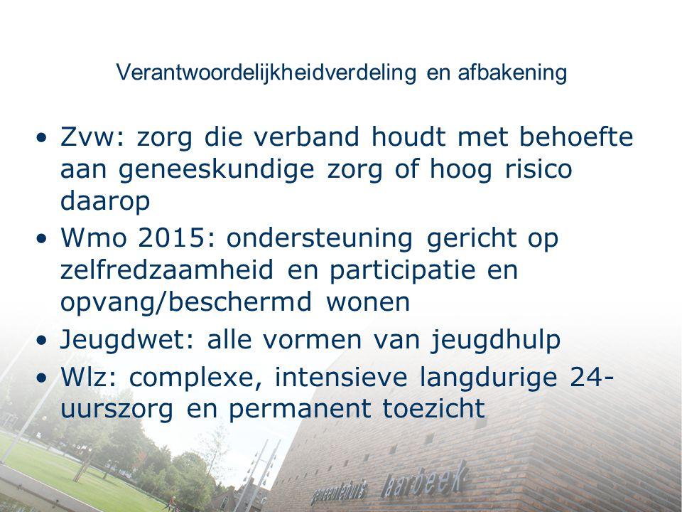 Verantwoordelijkheidverdeling en afbakening Zvw: zorg die verband houdt met behoefte aan geneeskundige zorg of hoog risico daarop Wmo 2015: ondersteun