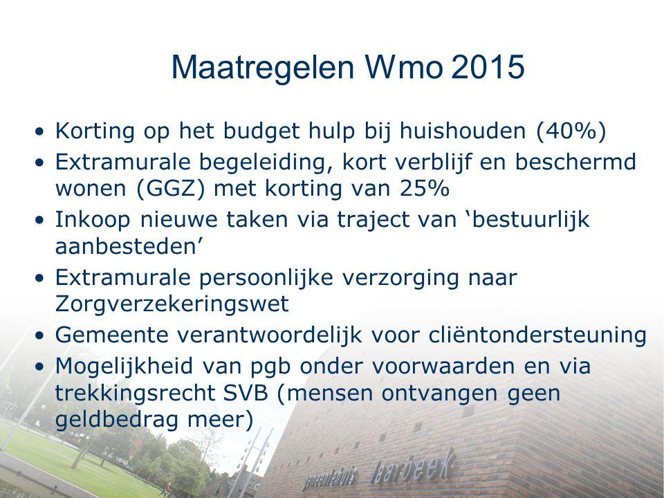 Maatregelen Wmo 2015 Korting op het budget hulp bij huishouden (40%) Extramurale begeleiding, kort verblijf en beschermd wonen (GGZ) met korting van 2
