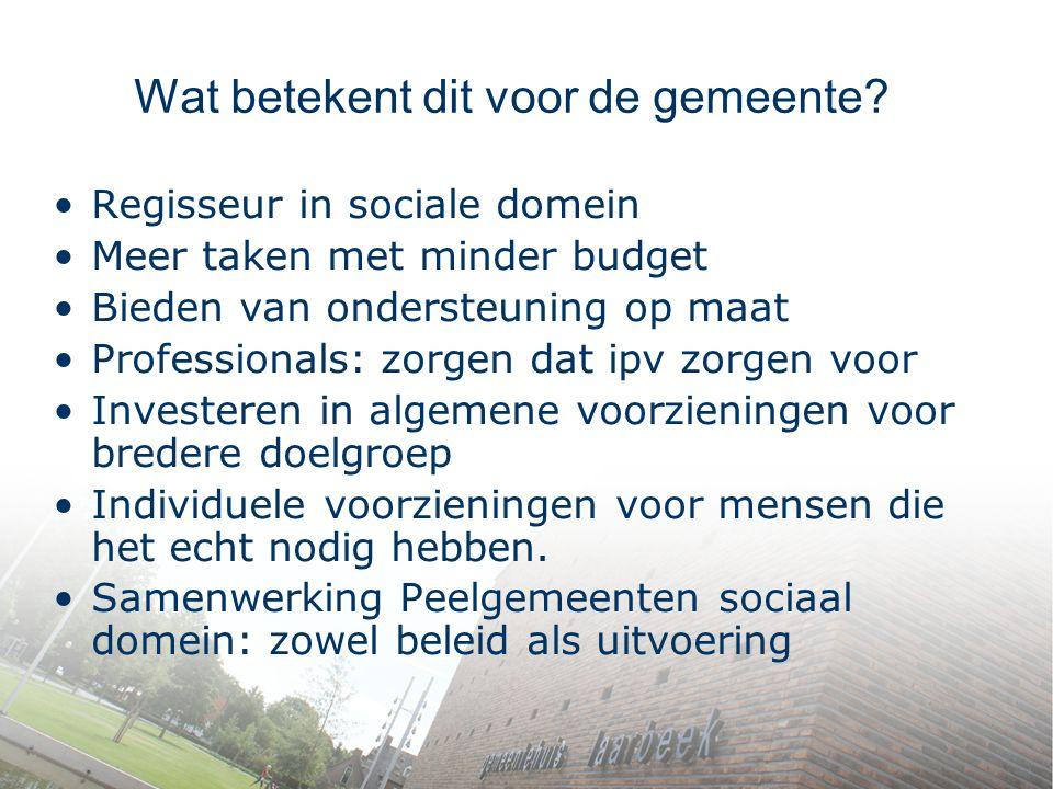 Wat betekent dit voor de gemeente? Regisseur in sociale domein Meer taken met minder budget Bieden van ondersteuning op maat Professionals: zorgen dat