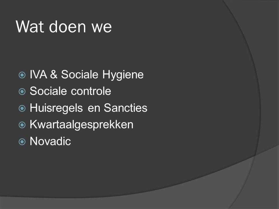 Wat doen we  IVA & Sociale Hygiene  Sociale controle  Huisregels en Sancties  Kwartaalgesprekken  Novadic